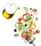 Fresh salad in motion Stock Images