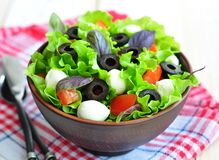 Fresh salad with mozarella cheese, tomatos and olives. Stock Photography