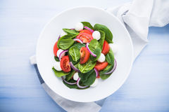 Fresh salad with mozzarella cheese, tomato, spinach and purple onion on blue wooden background top view Royalty Free Stock Photography