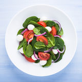 Fresh salad with mozzarella cheese, tomato, spinach and purple onion on blue wooden background top view. Healthy food Royalty Free Stock Image