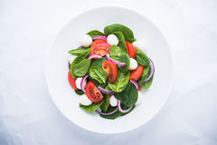 Fresh salad with mozzarella cheese, tomato, spinach and purple onion on white background top view Royalty Free Stock Photo