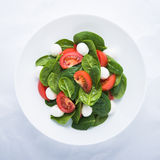 Fresh salad with mozzarella cheese, tomato and spinach on white paper background top view Royalty Free Stock Photos