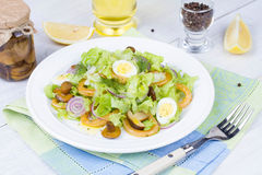 Fresh salad with mushrooms, squid and quail eggs Stock Images