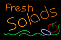 Fresh Salad Neon Sign Stock Photography