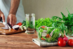 Free Fresh Salad Of Summer Vegetables In A Deep Bowl Of Glass Stock Image - 56952451