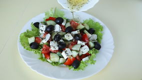 Fresh salad with olive oil stock footage