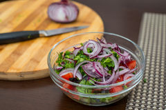 Fresh salad with onion and parsley Stock Image