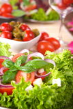 Fresh salad with onion tomato and basil Stock Photos