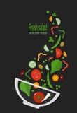 Fresh salad, organic food, vegetables. royalty free illustration