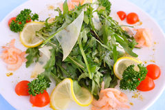 Fresh salad with a Parmesan and shrimps stock image