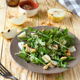 Fresh salad with pear and arugula. Food royalty free stock photography