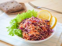 Fresh salad plate with mixed roots celery, carrot, red cabbage on light wooden background close up. Healthy food. Green meal. Fresh salad plate with mixed roots Royalty Free Stock Photos