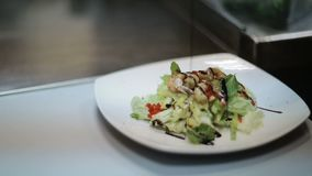 Fresh Salad Plate With Shrimp. Fresh salad with seafood and green leaves stock video