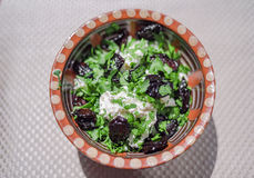 Fresh salad. With plums and cottage cheese stock photo