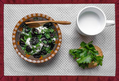 Fresh salad. With plums and cottage cheese on white background and a spoon in ukrainian decor stock photo