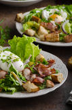 Fresh salad with poached egg Royalty Free Stock Photography