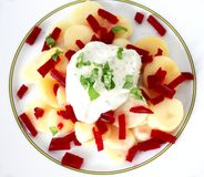 Fresh salad with potatoes, red radish and quark. A fresh salad of potatoes, red radish and quark Royalty Free Stock Photography