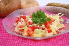 A fresh salad of potatoes and tomatoes Royalty Free Stock Photo