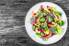 Fresh salad of prawns and mixed lettuce leaves, top view Royalty Free Stock Images