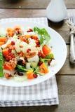 Fresh salad with pumpkin and greens. Food closeup Stock Images