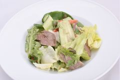 Fresh salad with pumpkin seeds, greens and boiled baby veal. stock photos