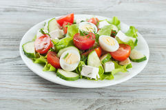 Fresh salad with quail eggs Royalty Free Stock Images