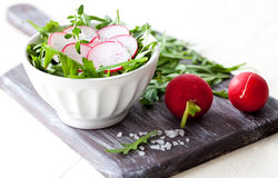 Fresh salad with radish. And salt Stock Image