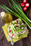 Fresh salad with radish and cucumber. Top view Royalty Free Stock Photos