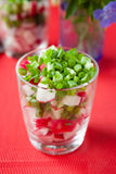 Fresh salad with radish and green onion. Close up Stock Images
