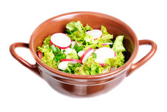 Fresh salad with radish,lettuce and onions on bow. Fresh salad with radishes, lettuce and onions on  bowl isolated on white Stock Photography