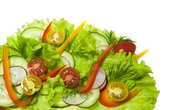 Fresh salad with radishes, cherry tomatoes and cucumbers. Isolated on white background Stock Photos