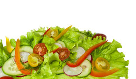 Fresh salad with radishes, cherry tomatoes and cucumbers. Isolated on white background Stock Photo