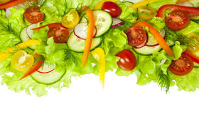 Fresh salad with radishes, cherry tomatoes and cucumbers. Isolated on white background Stock Images