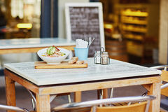 Fresh salad ready for eating outside a delicatessen eatery Stock Images