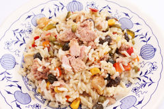 A fresh salad with rice, vegetables and tuna Stock Images