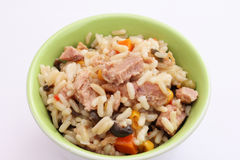 A fresh salad with rice, vegetables and tuna Royalty Free Stock Photos