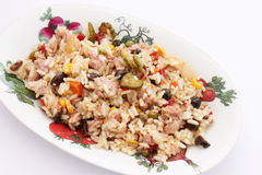 A fresh salad with rice, vegetables and tuna Stock Image