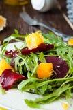 Fresh salad with roasted beetroot and orange. Closeup Stock Photo