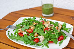 Fresh salad with rucola tomatoes and chicken Royalty Free Stock Image