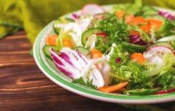 Fresh salad with salad mix, cucumber, radish and carrot Royalty Free Stock Photo