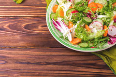 Fresh salad with salad mix, cucumber, radish and carrot Stock Photography