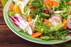 Fresh salad with salad mix, cucumber, radish and carrot Royalty Free Stock Image