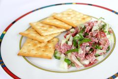Fresh salad of salami and onions Royalty Free Stock Images