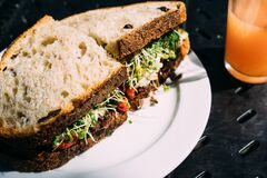 Fresh salad sandwiches Royalty Free Stock Images