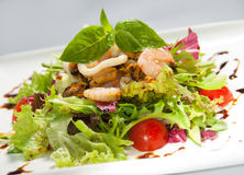 Fresh salad with seafood Royalty Free Stock Photos