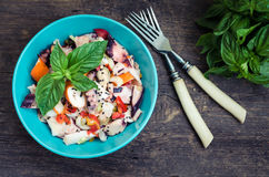 Fresh salad with seafood and vegetables Stock Photography
