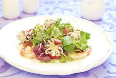 Fresh salad with seafood Stock Images