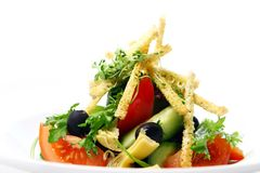 Fresh salad from seasonal vegetables with croutons Royalty Free Stock Photos