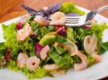 Fresh salad with shrimp. And avokado Royalty Free Stock Photo
