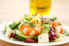 Fresh salad with shrimp Royalty Free Stock Images